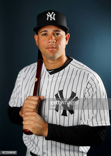 Gary Sanchez of the New York Yankees poses for a portrait during the New York Yankees photo day on February 21 2018 at George M Steinbrenner Field in...