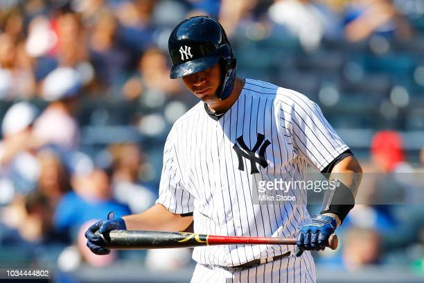 Gary Sanchez of the New York Yankees reacts after striking out in the fifth inning against the Toronto Blue Jays at Yankee Stadium on September 16,...