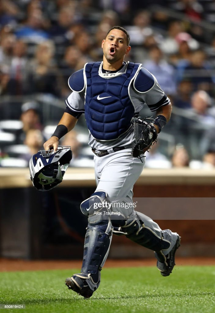 Gary Sanchez #24 of the New York Yankees reacts while walking back to the dugout during the game against the Tampa Bay Rays at Citi Field on Monday, September 11, 2017 in the Queens borough of New York City.