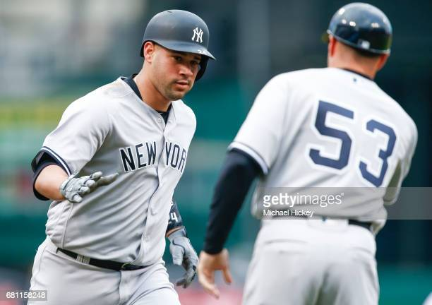 Gary Sanchez of the New York Yankees rounds the bases after a home run in the first inning against the Cincinnati Reds at Great American Ball Park on...