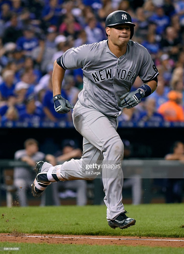 Gary Sanchez #24 of the New York Yankees runs out a ground out in the fourth inning against the Kansas City Royals at Kauffman Stadium on August 31, 2016 in Kansas City, Missouri.