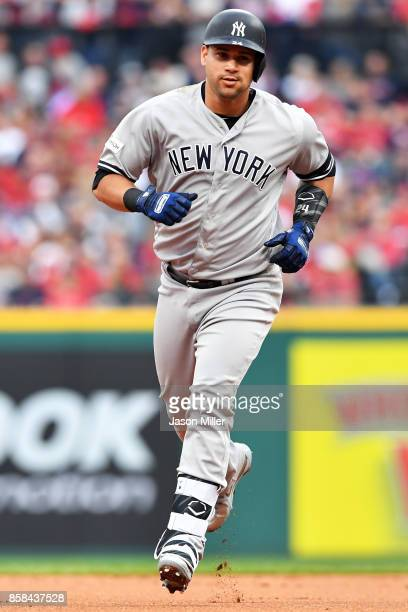 Gary Sanchez of the New York Yankees runs the bases after hitting a tworun home run in the first inning against the Cleveland Indians with during...