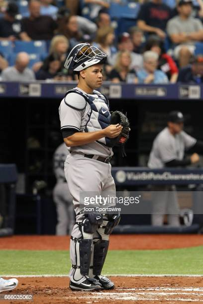 Gary Sanchez of the Yankees at catcher during the MLB regular season game between the New York Yankees and Tampa Bay Rays on April 2 at Tropicana...