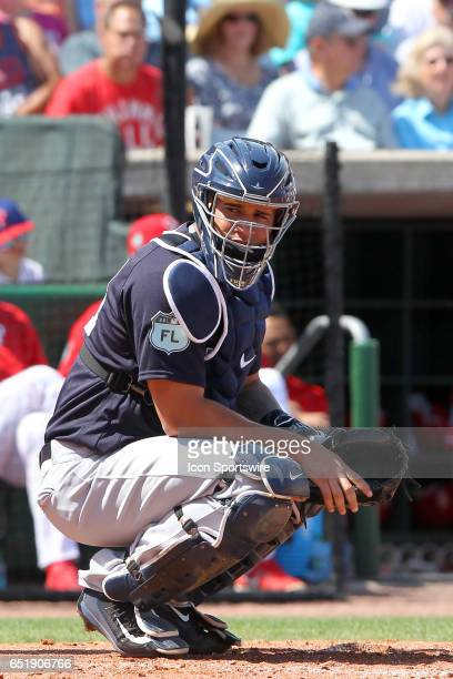Gary Sanchez of the Yankees at catcher during the spring training game between the Toronto Blue Jays and the Philadelphia Phillies on March 10 2017...