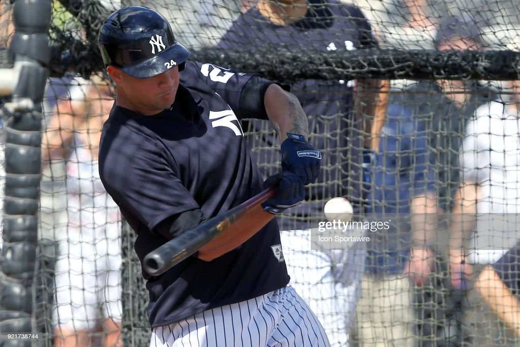 Gary Sanchez (24) takes a swing during batting practice during the New York Yankees spring training workout on February 20, 2018, at George M. Steinbrenner Field in Tampa, FL.