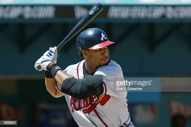 Gary Sheffield of the Atlanta Braves stands at bat during the game against the Florida Marlins at Pro Player Stadium on April 13, 2003 in Miami...