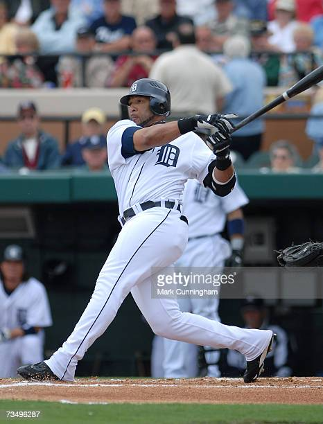 Gary Sheffield of the Detroit Tigers bats during the game against the Cleveland Indians at Joker Marchant Stadium in Lakeland Florida on March 3 2007...
