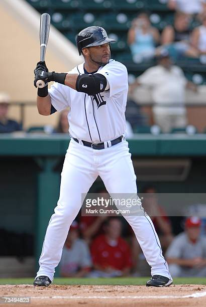 Gary Sheffield of the Detroit Tigers batting during the game against Florida Southern College at Joker Marchant Stadium in Lakeland Florida on...