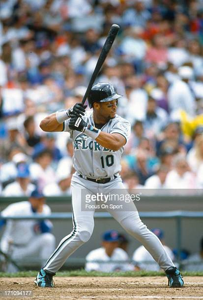 Gary Sheffield of the Florida Marlins bats against the Chicago Cubs during an Major League Baseball game circa 1994 at Wrigley Field in Chicago...