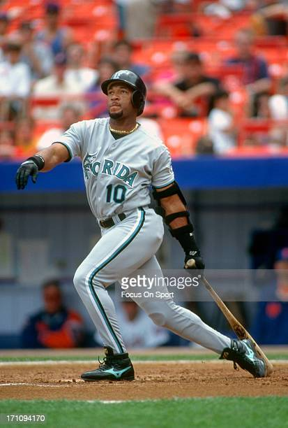 Gary Sheffield of the Florida Marlins bats against the New York Mets during an Major League Baseball game circa 1996 at Shea Stadium in the Queens...
