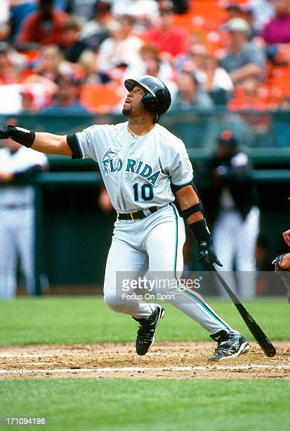 Gary Sheffield of the Florida Marlins bats against the San Francisco Giants during an Major League Baseball game circa 1997 at Candlestick Park in...