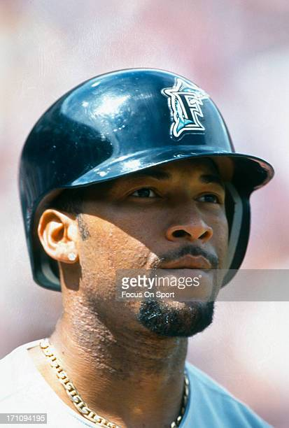 Gary Sheffield of the Florida Marlins looks on from the ondeck circle against the San Francisco Giants during an Major League Baseball game circa...