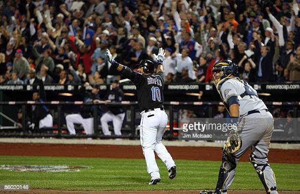 Gary Sheffield of the New York Mets celebrates his 500th career home run in the seventh inning against the Milwaukee Brewers on April 17 2009 at Citi...