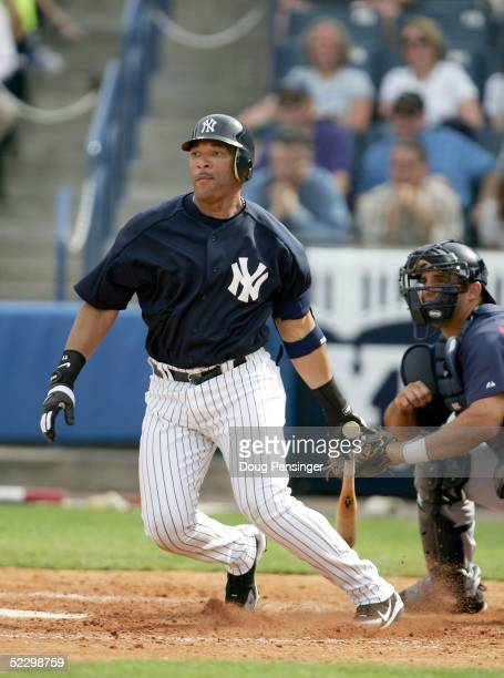 Gary Sheffield of the New York Yankees singles to left against the Cleveland Indians on March 7 2005 at Legends Field in Tampa Florida The Indians...