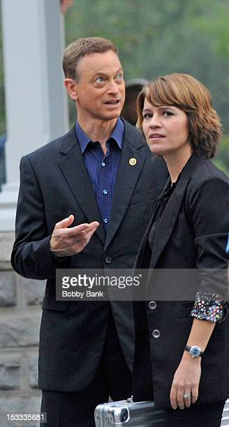 Gary Sinise and Anna Belknap filming on location for 'CSI NY' on October 3 2012 in New York City