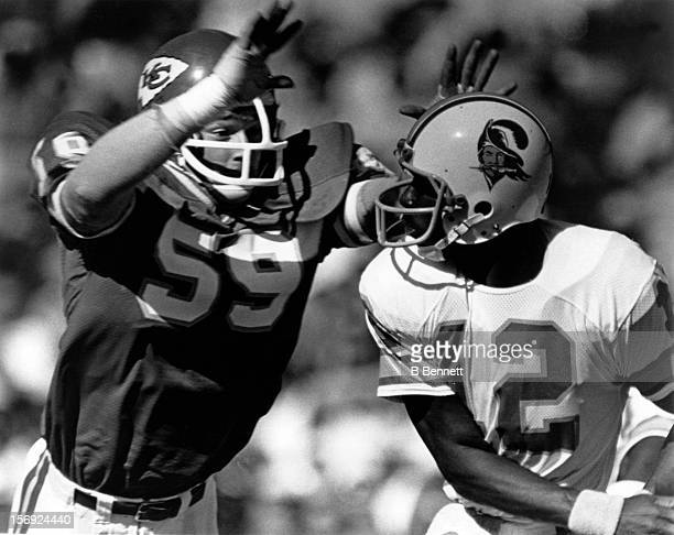Gary Spani of the Kansas City Chiefs looks to sack quarterback Doug Williams of the Tampa Bay Buccaneers on September 30 1981 at the Arrowhead...