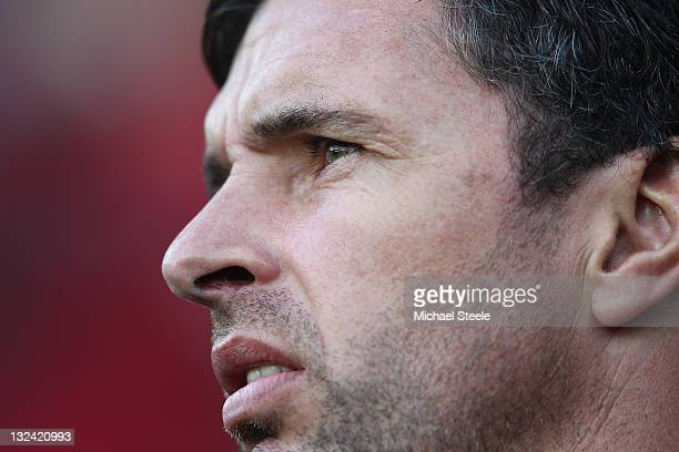 Gary Speed manager of Wales during the Wales v Norway International Friendly match at the Cardiff City Stadium on November 12 2011 in Cardiff Wales