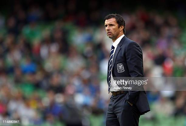 Gary Speed Manager of Wales looks on during the Carling Nations Cup match between Northern Ireland and Wales at the Aviva Stadium on May 27 2011 in...