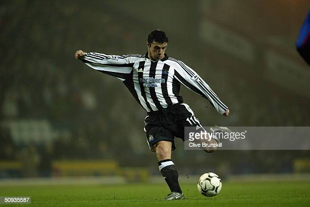 Gary Speed of Newcastle United during the FA Barclaycard Premiership match between Blackburn Rovers and Newcastle United at Ewood Park on February 11...