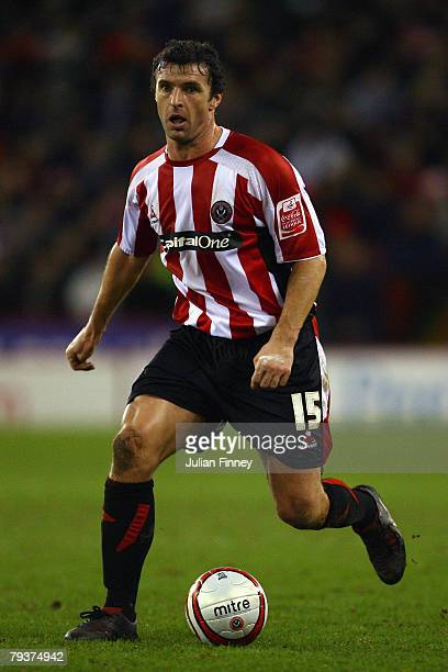Gary Speed of Sheffield United in action during the CocaCola Championship match between Sheffield United and Watford at Bramall Lane on January 29...
