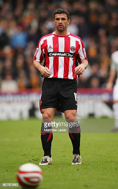 Gary Speed of Sheffield United in action during the CocaCola Championship match between Sheffield United and Hull City at Bramall Lane on April 19...