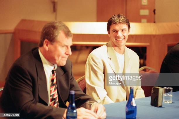 Gary Speed, signs for Everton Football Club, pictured with manager Joe Royle at Goodison Park, Liverpool, 21st June 1996.