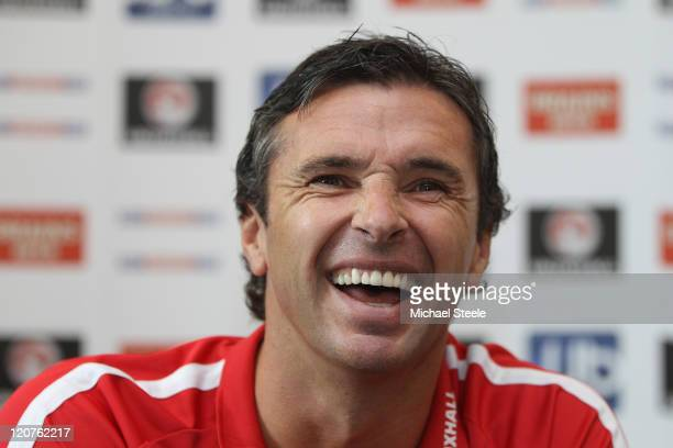 Gary Speed the manager of Wales addresses the media during the Wales Press Conference at The Vale Resort on August 9 2011 in Cardiff Wales