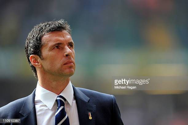 Gary Speed the manager of Wales looks on prior to kickoff during the UEFA EURO 2012 Group G qualifying match between Wales and England at the...