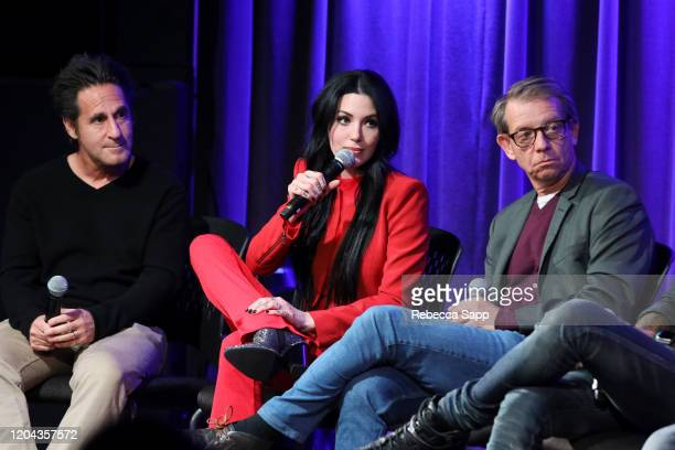 Gary Spivack, Dorothy and Jonathan McHugh speak onstage at Reel To Reel: Long Live Rock…Celebrating The Chaos at the GRAMMY Museum on February 05,...