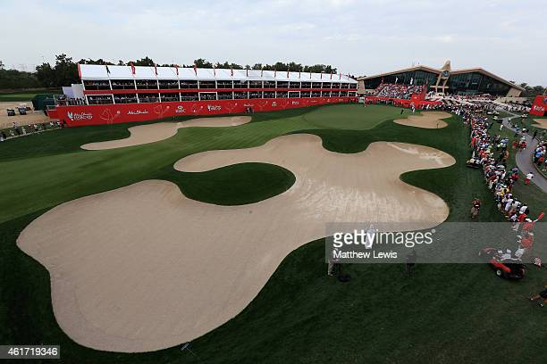 Gary Stal of France makes a putt on the 18th green during day four of the Abu Dhabi HSBC Golf Championship at Abu Dhabi Golf Club on January 18 2015...
