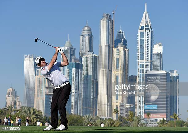 Gary Stal of France on the par five 13th hole during the first round of the Omega Dubai Desert Classic at the Emirates Golf Club on January 29 2015...