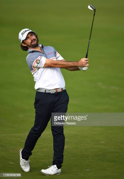 Gary Stal of France plays his second shot at the 9th hole during Day Two of the Dutch Open at Bernardus Golf on September 17, 2021 in Cromvoirt,...