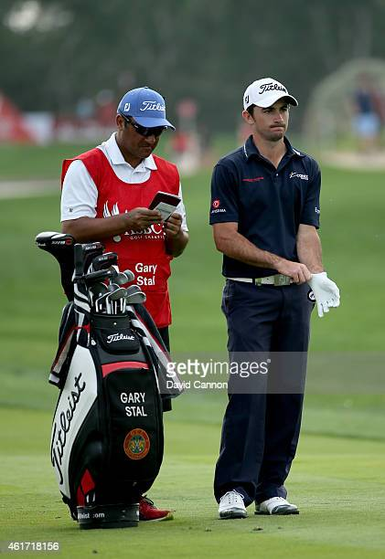 Gary Stal of France plays his second shot on the par 4 13th hole on the way to his surprise victory during the final round of the Abu Dhabi HSBC Golf...