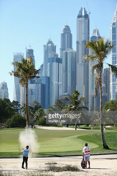 Gary Stal of France plays on to the 12th green during the third round of the Omega Dubai Desert Classic at the Emirates Golf Club on February 6 2016...