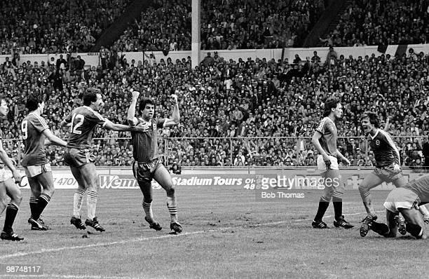 Gary Stevens celebrates after scoring Brighton's 2nd goal against Manchester United during the FA Cup Final at Wembley Stadium 21st May 1983 The...