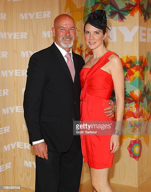 Gary Sweet and Nadia Dyall attend the Myer marquee during Emirates Melbourne Cup Day at Flemington Racecourse on November 2 2010 in Melbourne...