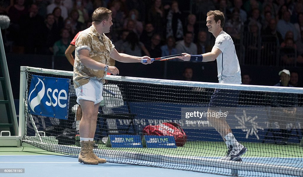 Gary Tank Commander arrives on court to play with Andy Murray in doubles action against Grigor Dimitrov and Tim Henman during Andy Murray Live presented by SSE at the SSE Hydro on September 21, 2016 in Glasgow, Scotland.