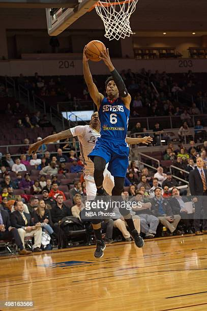 Gary Tatton of the Delaware 87ers drives to the basket against the Erie BayHawks at the Erie Insurance Arena on November 20 2015 NOTE TO USER User...