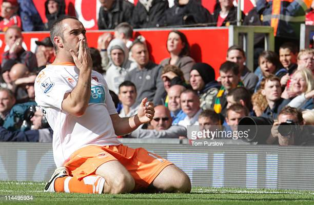 Gary TaylorFletcher of Blackpool celebrates scoring their second goal during the Barclays Premier League match between Manchester United and...