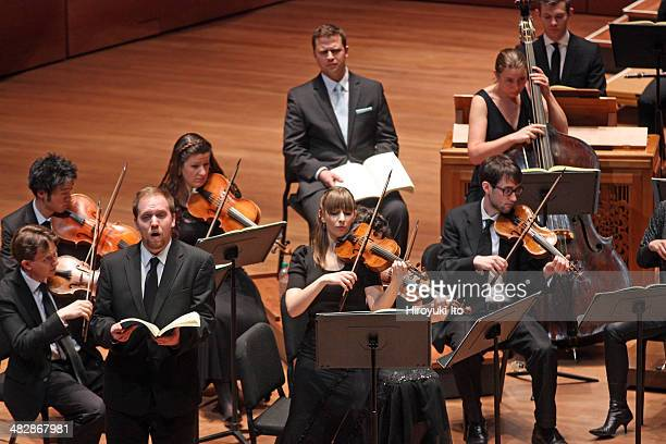 """Gary Thor Wedow leading Juiliard415 in Bach's """"St. Matthew Passion"""" at Alice Tully Hall on Monday night, March 17, 2014.This image:Eric Jurenas and..."""