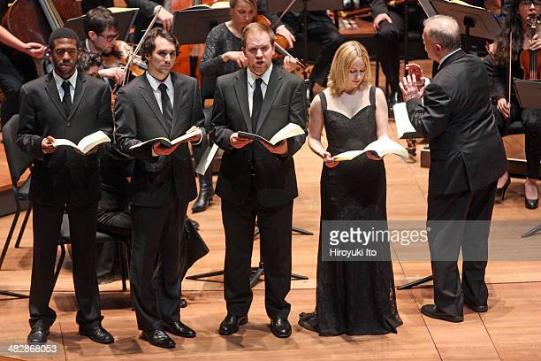 """Gary Thor Wedow leading Juiliard415 in Bach's """"St. Matthew Passion"""" at Alice Tully Hall on Monday night, March 17, 2014.This image:From left, Elliott..."""
