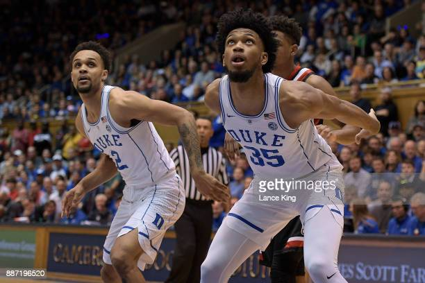 Gary Trent Jr #2 and Marvin Bagley III of the Duke Blue Devils in action against the St Francis Red Flash at Cameron Indoor Stadium on December 5...