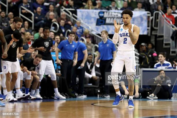 Gary Trent Jr #2 of the Duke Blue Devils celebrates a basket against the Rhode Island Rams during the first half in the second round of the 2018 NCAA...