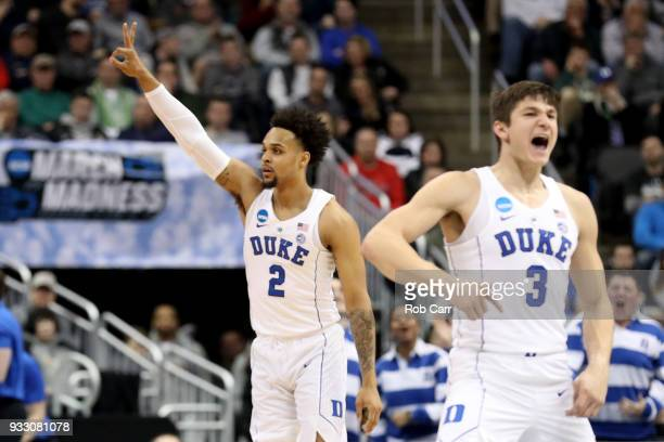 Gary Trent Jr #2 of the Duke Blue Devils celebrates a three point basket against the Rhode Island Rams during the first half in the second round of...
