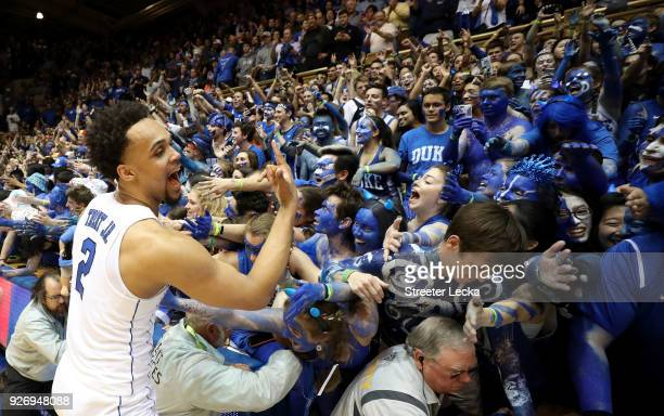 Gary Trent Jr #2 of the Duke Blue Devils celebrates with the fans after defeating the North Carolina Tar Heels 7464 during their game at Cameron...