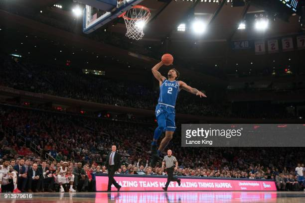 Gary Trent Jr #2 of the Duke Blue Devils goes up for a dunk against the St John's Red Storm at Madison Square Garden on February 3 2018 in New York...