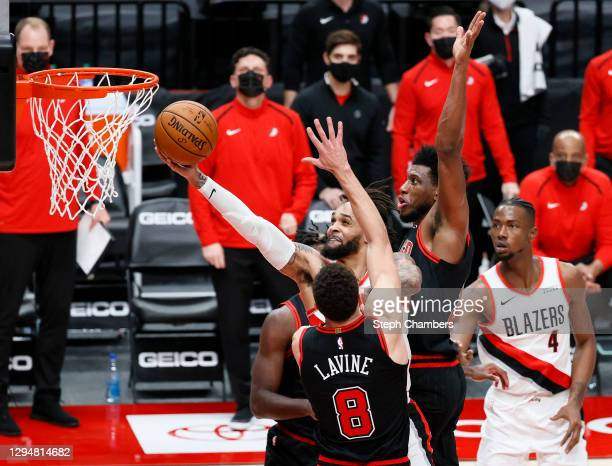 Gary Trent Jr. #2 of the Portland Trail Blazers shoots against the Chicago Bulls in the fourth quarter at Moda Center on January 05, 2021 in...