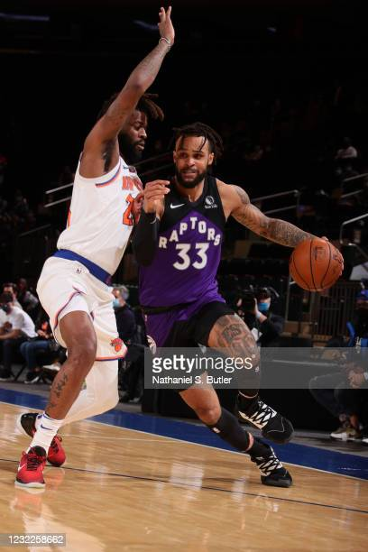 Gary Trent Jr. #33 of the Toronto Raptors dribbles the ball during the game against the New York Knicks on April 11, 2021 at Madison Square Garden in...