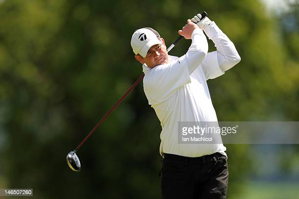 Gary Tyronney of Inverness Golf Club tees off during The Virgin Atlantic PGA National Pro-Am Championship - Regional Final at Crieff Golf Course on...