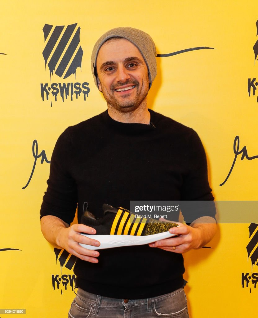 Gary Vaynerchuk at the launch of his latest book 'Crushing It!: How Great Entrepreneurs Build Business and Influence and How You Can Too' at The Truman Brewery on March 8, 2018 in London, England.